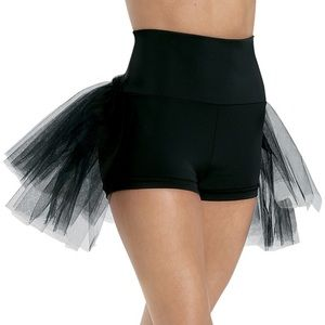 High waisted ruffle rear dance shorts